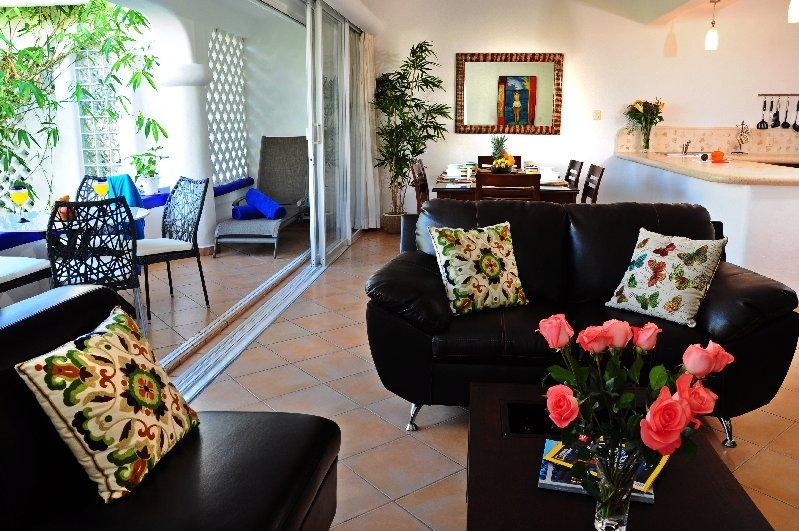 Open plan living, dining, terrace